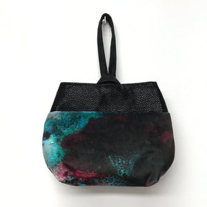 Wristlet Blue Black Watercolor