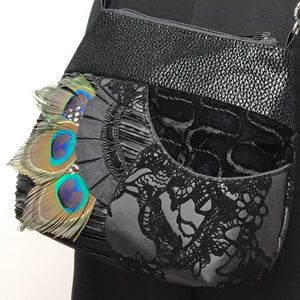 Small Bag on Chain Peacock Feathers