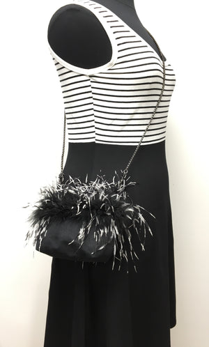 Small Bag on Chain Black/White Ostrich Feathers