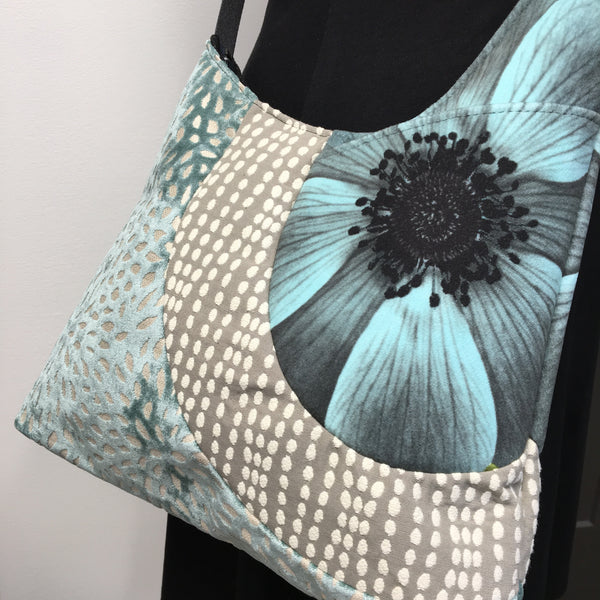 Cross Body Aqua Blue Flower