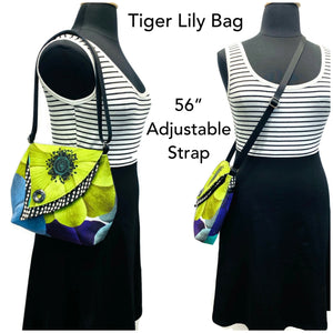 Tiger Lily Bag Lime Flower – Black & White Wavy Dots