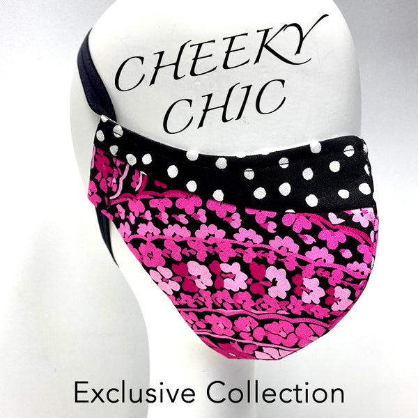 CHEEKY CHIC ADULT FACE MASK - Pink Flower/ Party Dots