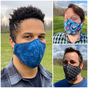 ADULT FACE MASK - Stencil Lines Blue/Mustard/Grey