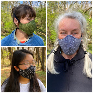ADULT FACE MASK - Grey/Blue/Brown Circles