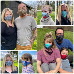 ADULT FACE MASK – Feather Paint Purple/Blue/Butter Yellow