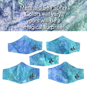 ADULT FACE MASK – Mermaid Sea Spray Turquoise/Periwinkle/Blue/Aqua