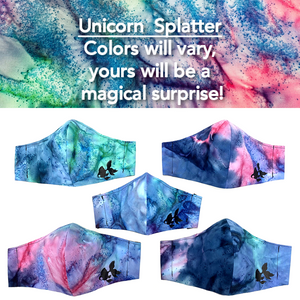 ADULT FACE MASK - Unicorn Splatter Periwinkle/Dark Blue/Pink/Teal