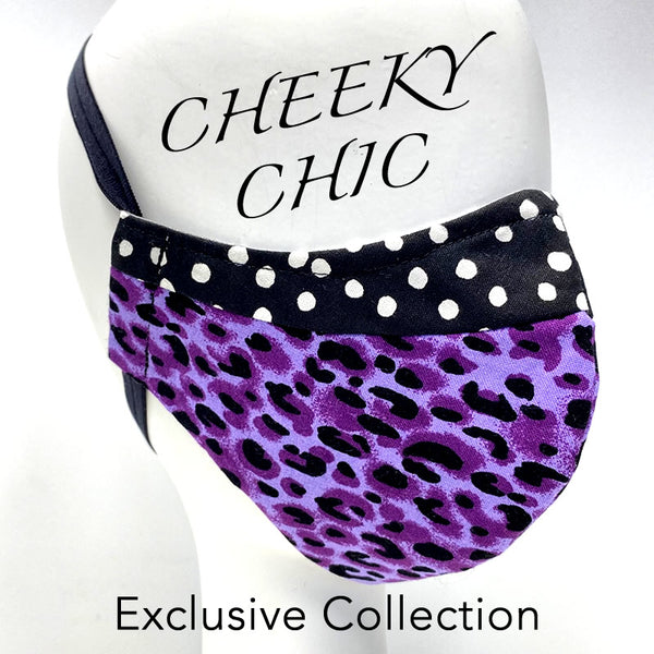 CHEEKY CHIC ADULT FACE MASK - Wild Plum Cheetah/ Party Dots