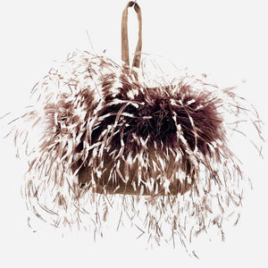 Wristlet Dark Chocolate Brown/Cream Ostrich Feathers