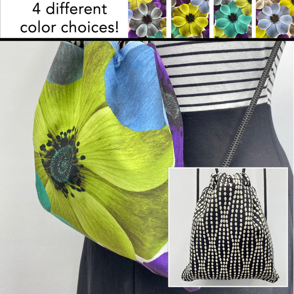 Reversible Cinch Sack Lime Flower