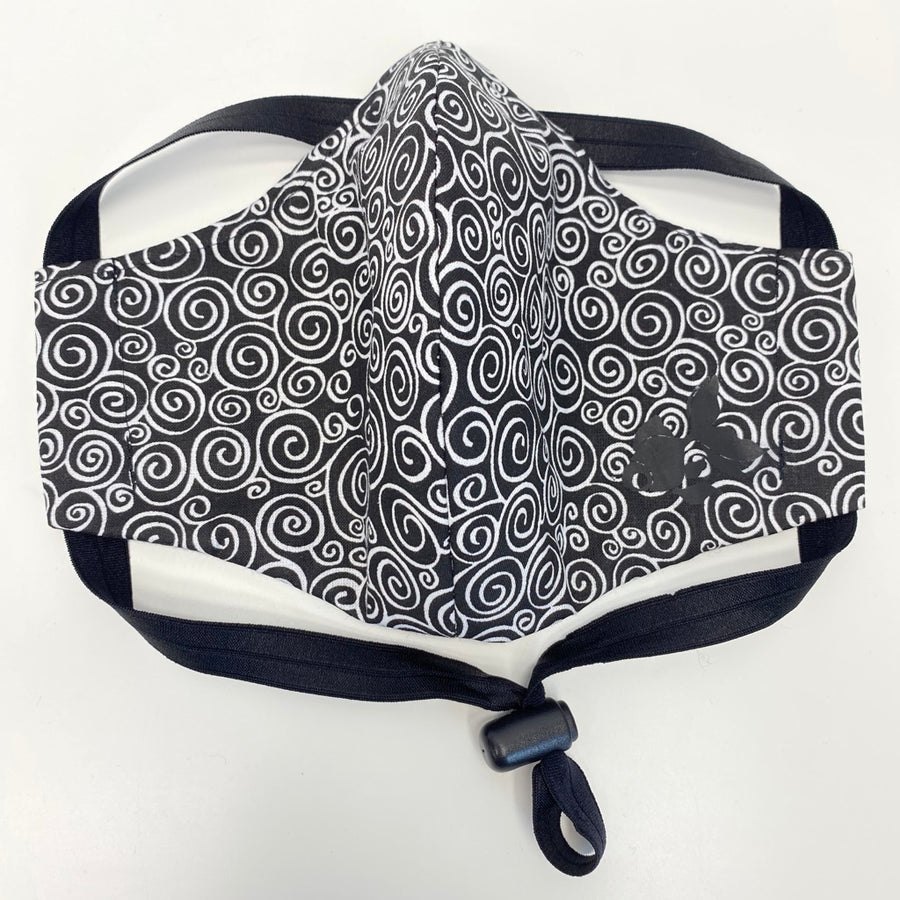 ADULT FACE MASK - Black/White Swirls
