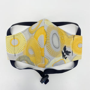 ADULT FACE MASK - Yellow/Grey Circles