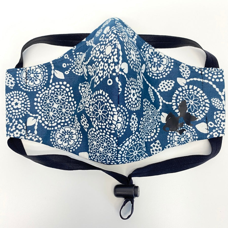 ADULT FACE MASK - Small White Dot Flowers on Navy Blue