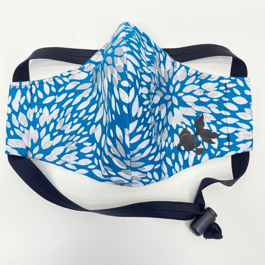 ADULT FACE MASK - Silver/White Dahlia Flower on Blue