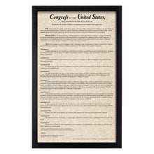 Load image into Gallery viewer, Framed Bill of Rights Parchment Paper Wood Frame Glass Pane