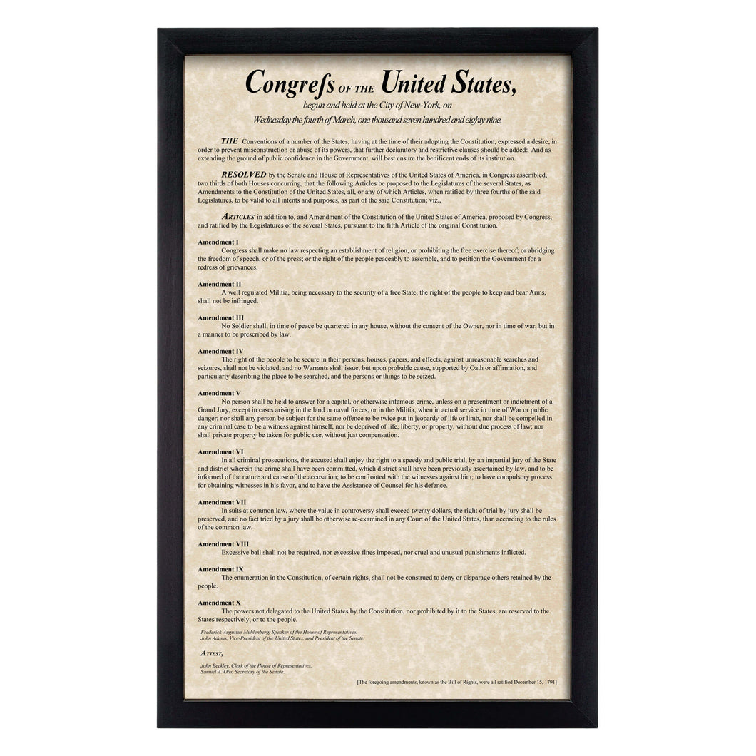 Framed Bill of Rights Parchment Paper Wood Frame Glass Pane
