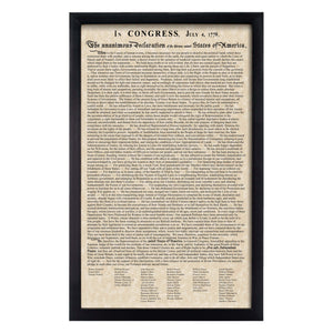 Framed Declaration of Independence Parchment Paper Wood Frame Glass Pane