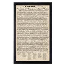 Load image into Gallery viewer, Framed Declaration of Independence Parchment Paper Wood Frame Glass Pane