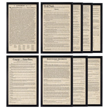 Load image into Gallery viewer, Framed Declaration of Independence Framed Constitution Framed Bill of Rights Framed Constitutional Amendments 11-27 Parchment Paper Wood Frame Glass Pane