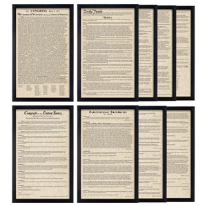 Framed Declaration of Independence Framed Constitution Framed Bill of Rights Framed Constitutional Amendments 11-27 Parchment Paper Wood Frame Glass Pane