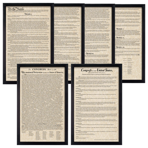 Framed Declaration of Independence Framed Constitution Framed Bill of Rights Parchment Paper Wood Frame Glass Pane