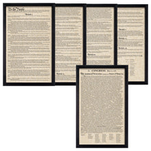 Load image into Gallery viewer, Framed Declaration of Independence Framed Constitution Parchment Paper Wood Frame Glass Pane