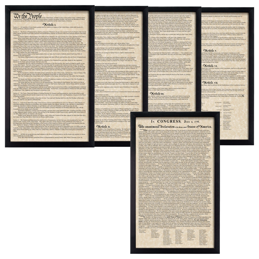 Framed Declaration of Independence Framed Constitution Parchment Paper Wood Frame Glass Pane