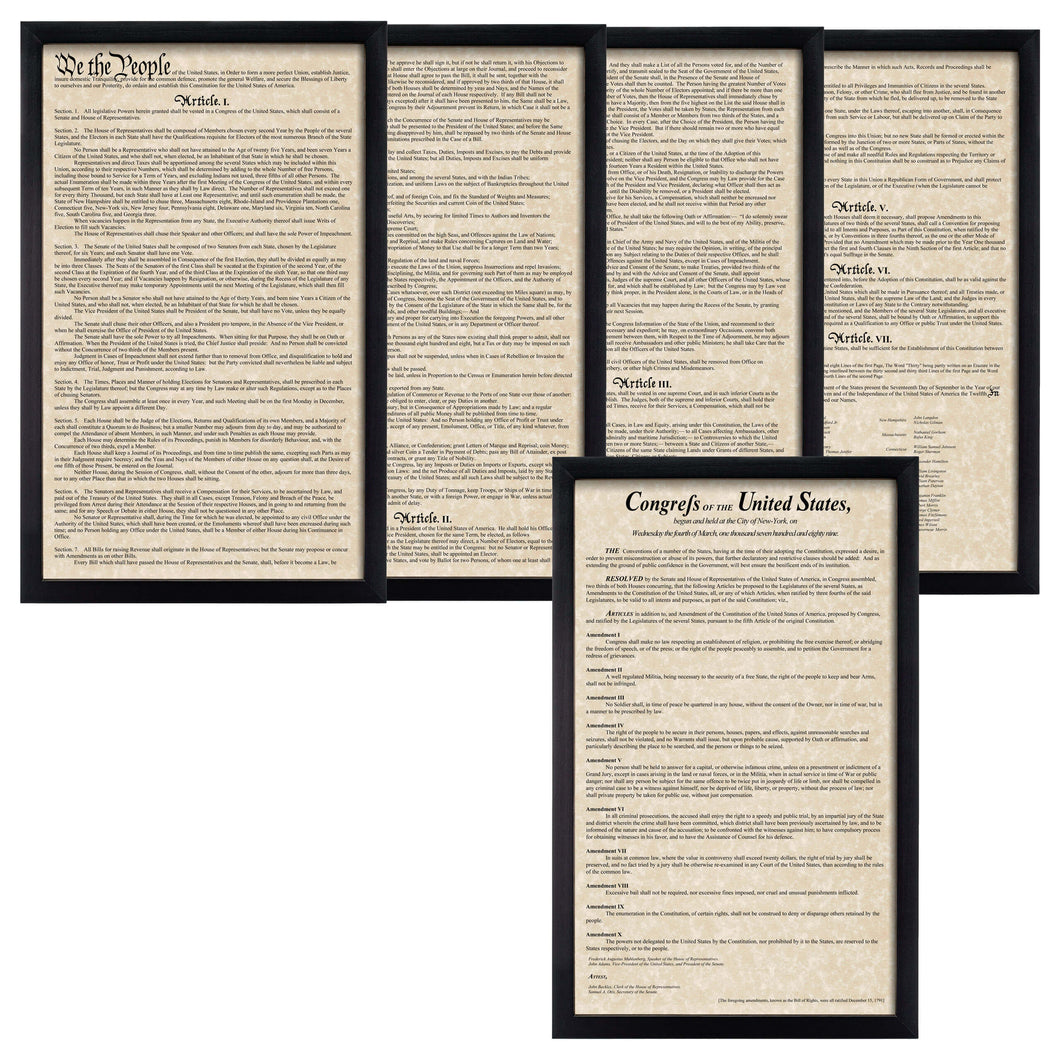 Framed Constitution Framed Bill of Rights Parchment Paper Wood Frame Glass Pane
