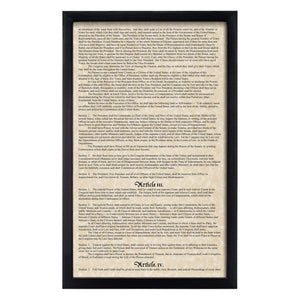 Framed Declaration of Independence, Constitution & Bill of Rights