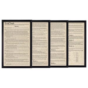 Framed U.S. Constitution Parchment Paper Wood Frame Glass Pane