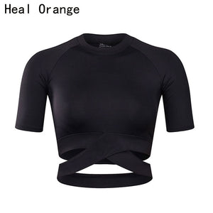 HEAL ORANGE Women Yoga Shirts Sexy Sports Top Style Fitness Crop Top Solid  Running Shirt Sport Gym Clothes Tank Tops Sportswear