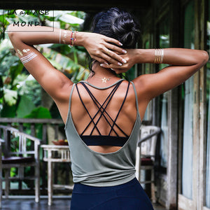 Fitness Women Breathable Yoga Top Gym Workout Tank Top Sexy Backless Sport T Shirt Women Running Shirt Sport Crop Top