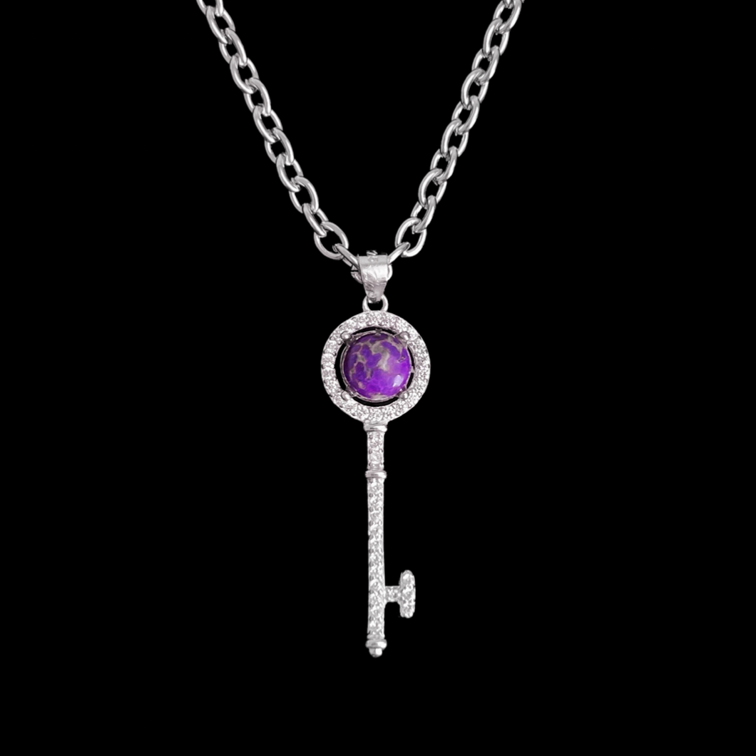 Charoite Key Necklace