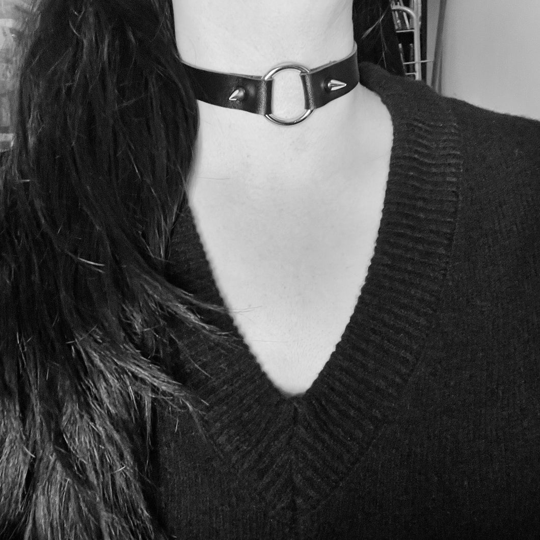 Spiked Ring Choker