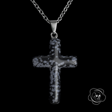 Load image into Gallery viewer, Snowflake Obsidian Cross Necklace