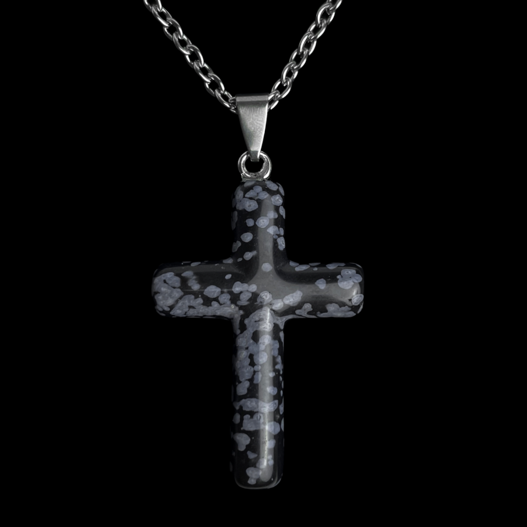 Snowflake Obsidian Cross Necklace