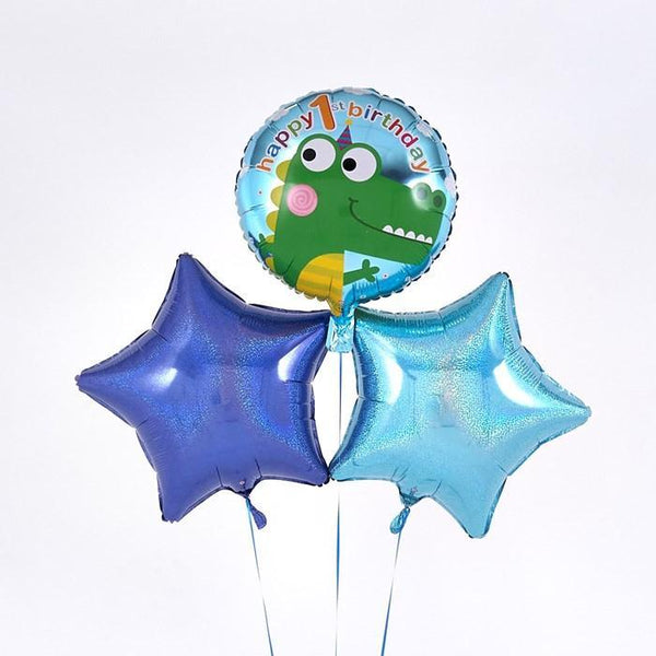 1st Birthday Crocodile Blue Balloon Bouquet