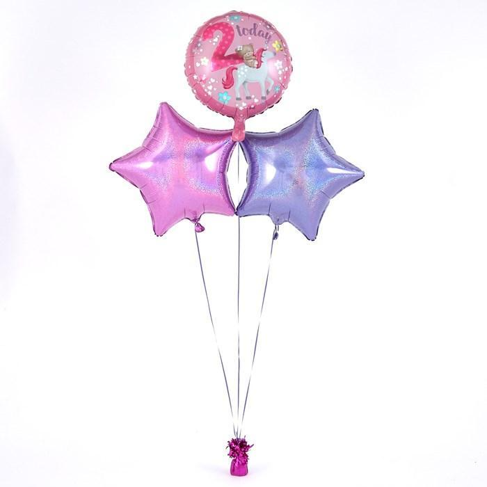 2nd Birthday Hugs Unicorn Pink Balloon Bouquet