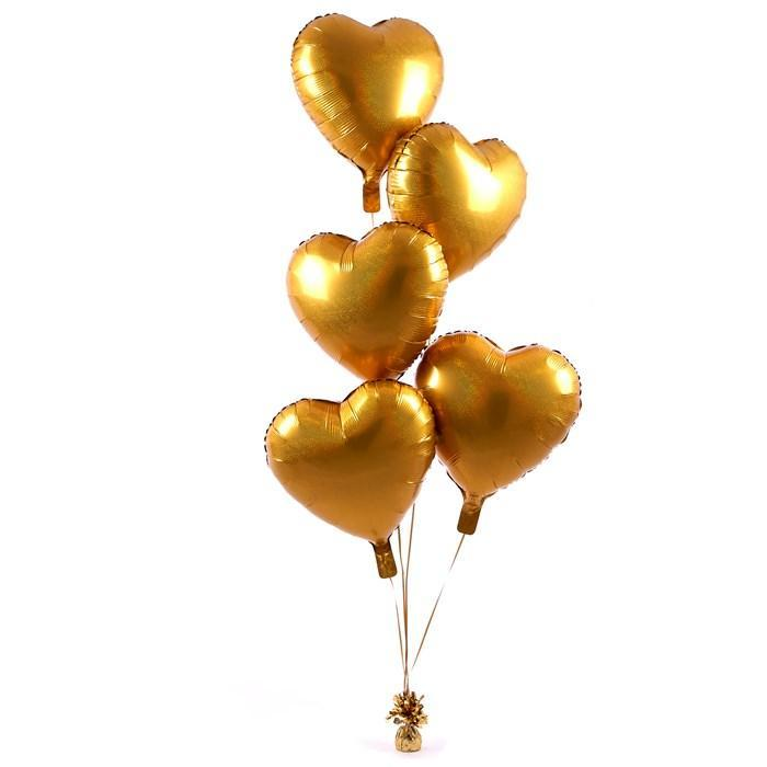 5 Gold Hearts Balloon Bouquet