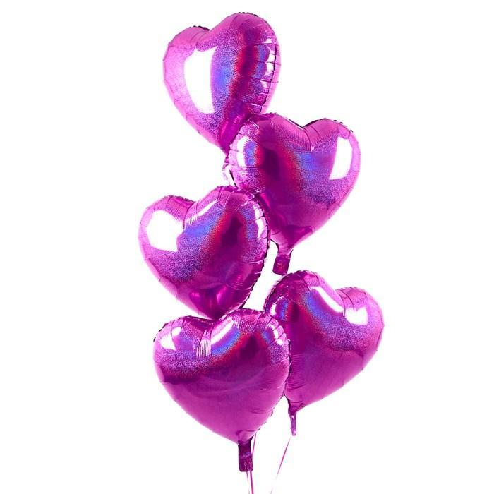 5 Pink Hearts Balloon Bouquet