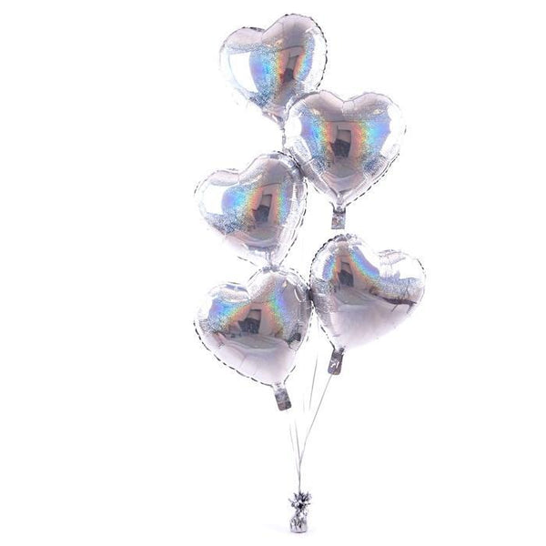5 Silver Hearts Balloon Bouquet