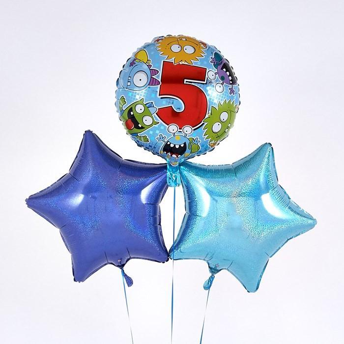5th Birthday Monster Blue Balloon Bouquet