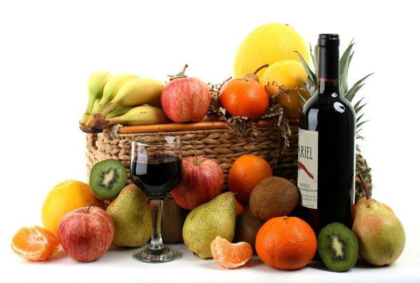 Deluxe Fruit Basket with Red Wine Hamper