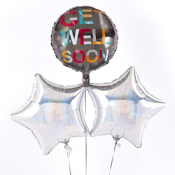 Get Well Soon Silver Balloon Bouquet