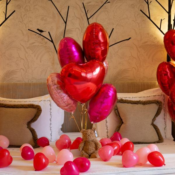 Half Dozen Mixed Red Hearts & Cuddly Toy Inflated Foil Bunch