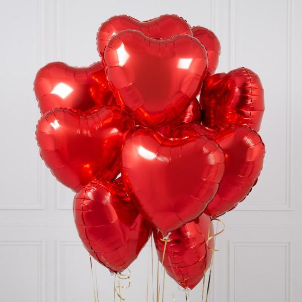 One Dozen Red Heart Foil Balloons