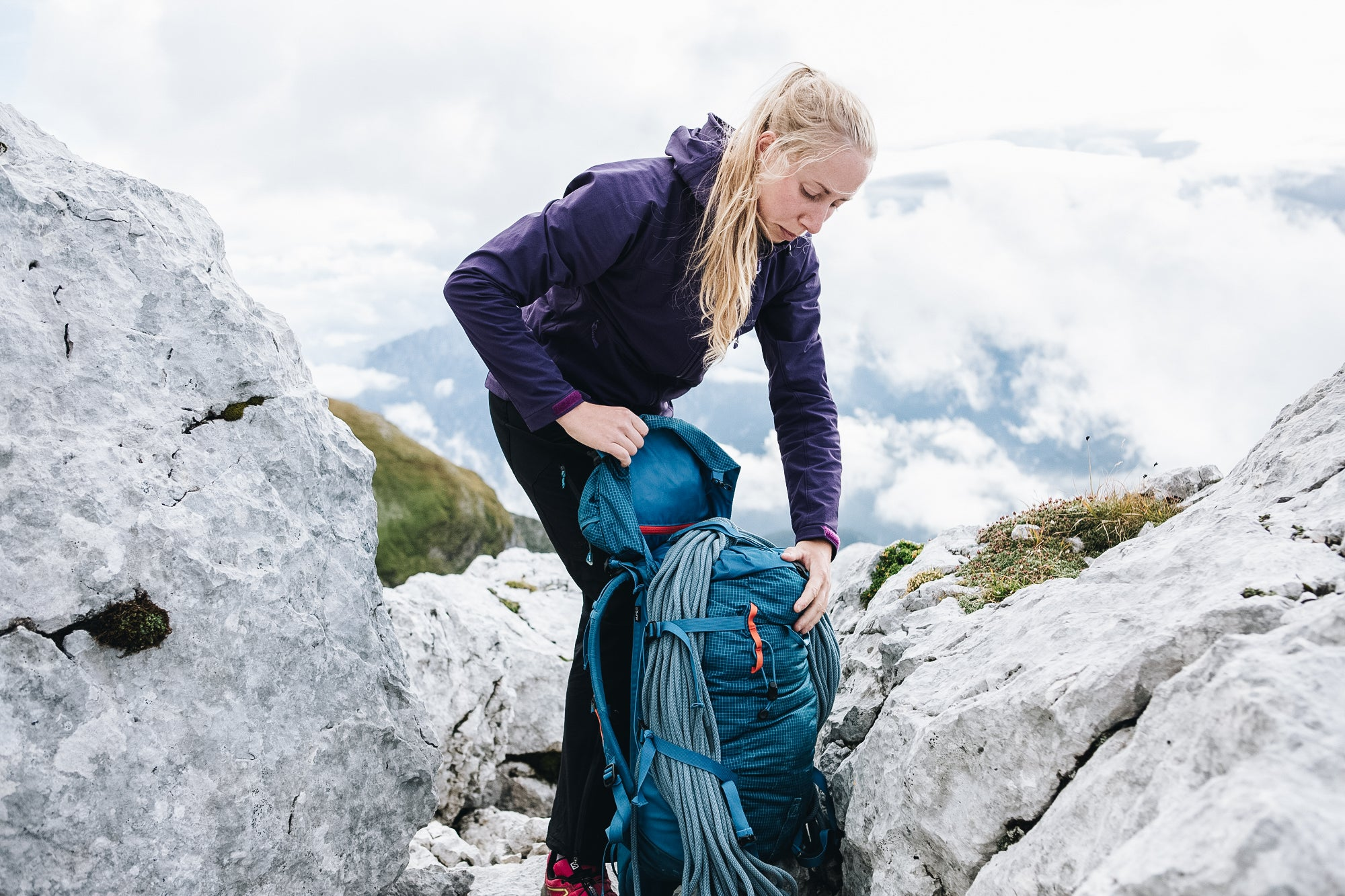 Packing a rucksack in the Slovenian mountains
