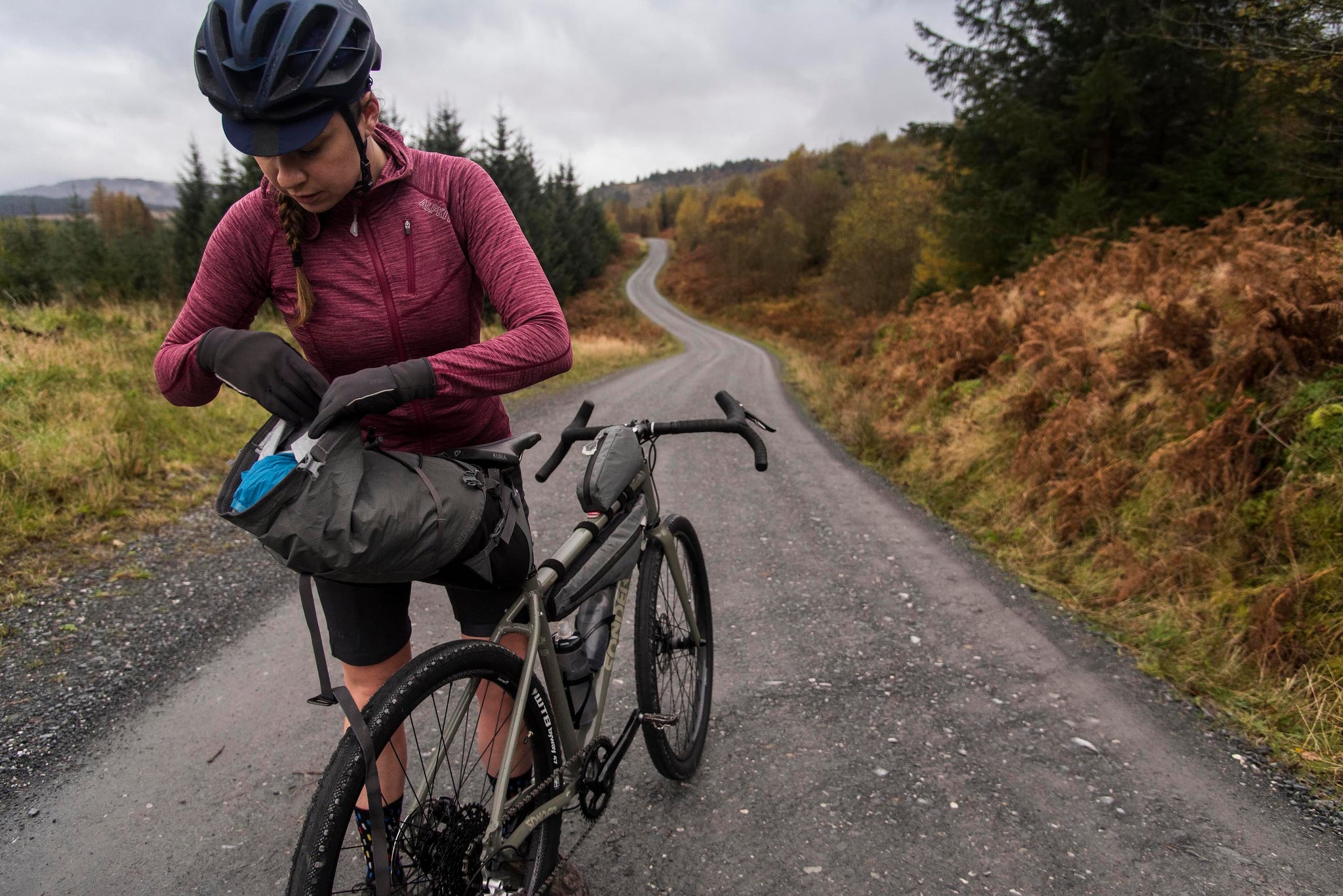 Rummaging through bikepacking bags in Galloway Forest