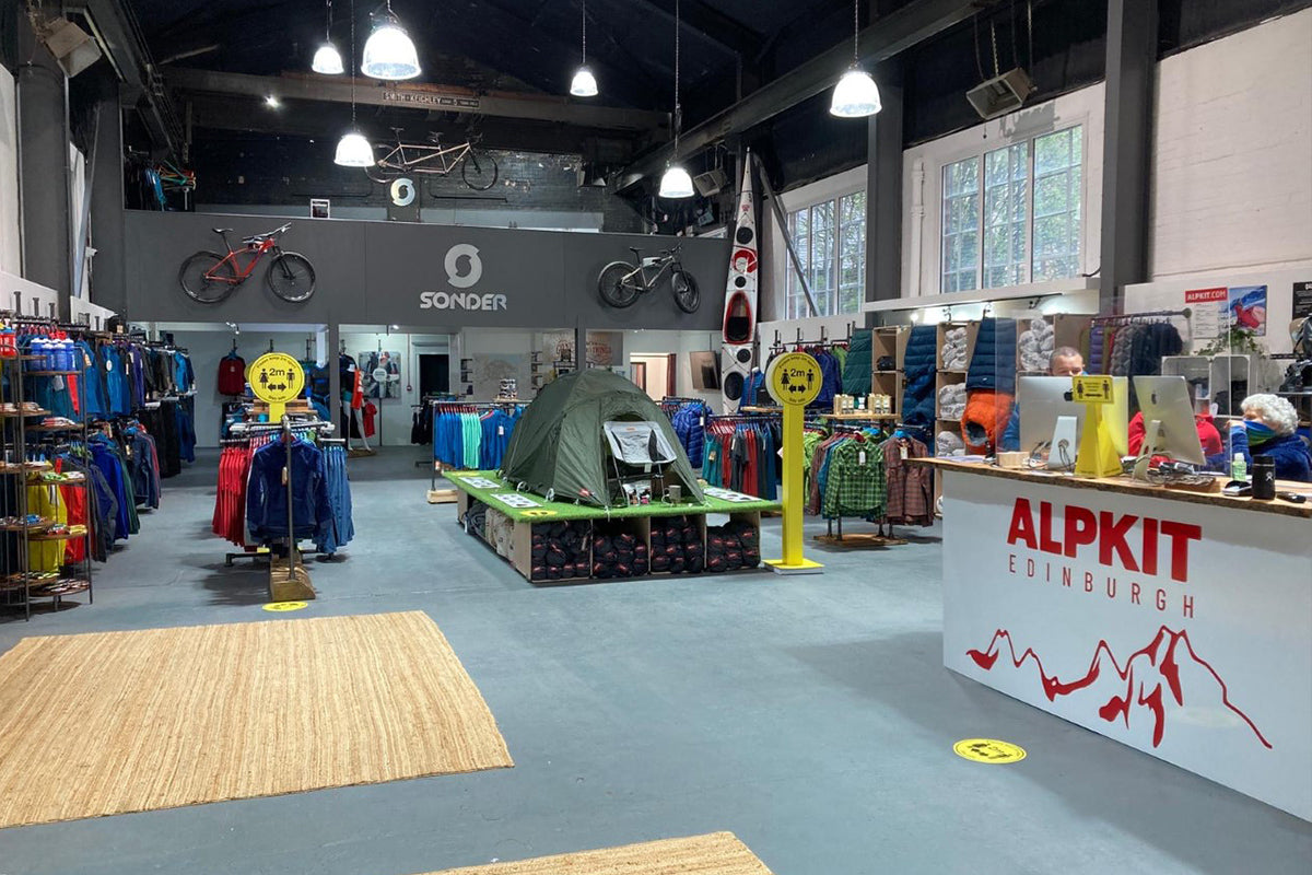 The inside of the new Alpkit Edinburgh outdoor shop