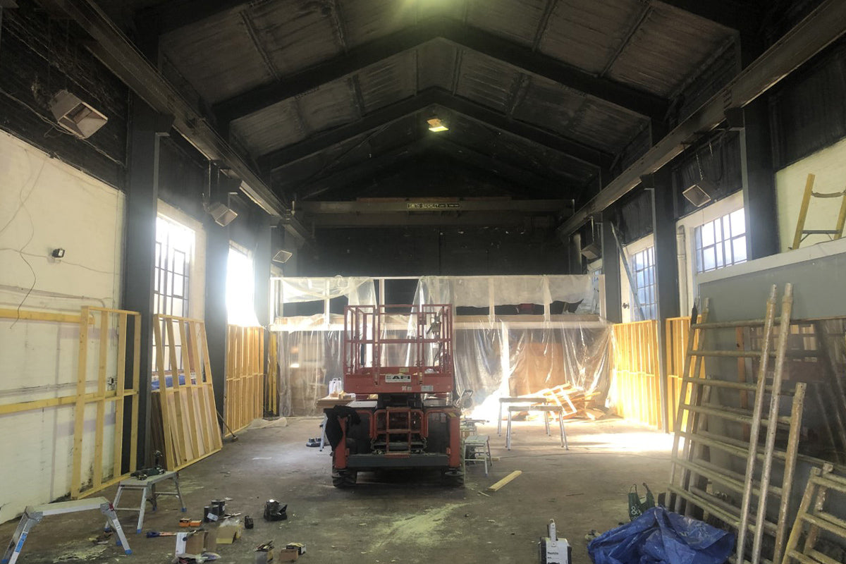 Alpkit Edinburgh before the shop fit, an empty industrial warehouse
